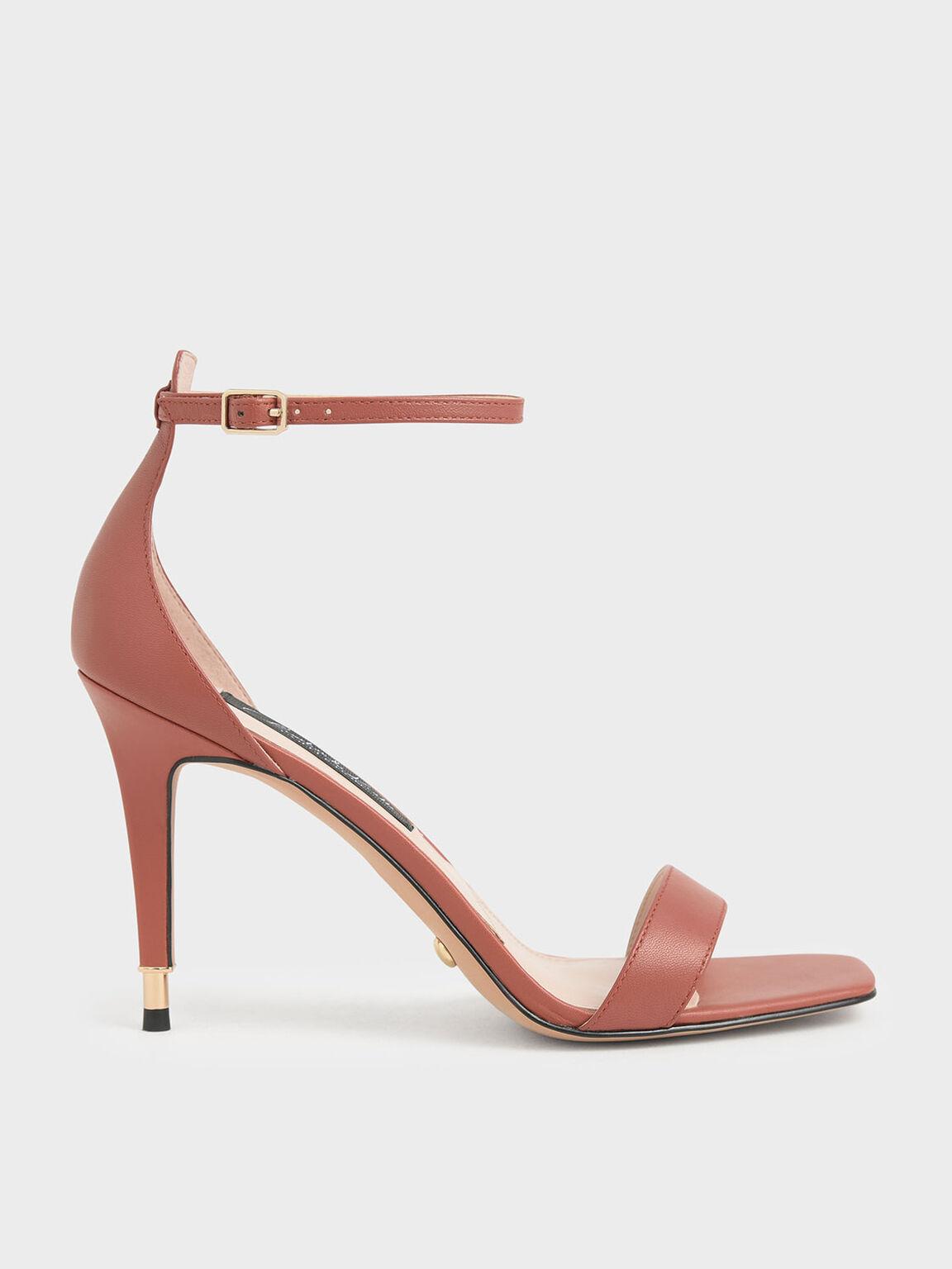 真皮方頭高跟涼鞋, 磚紅色, hi-res