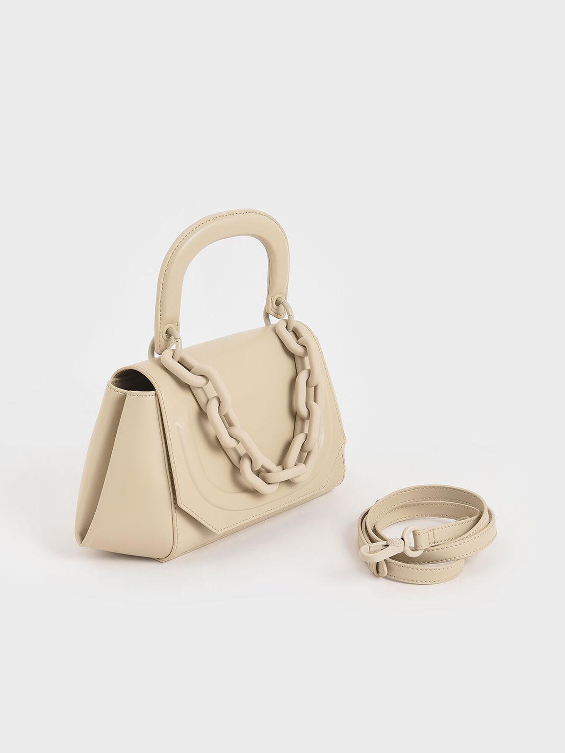 Chunky Chain Handbag, Ivory, hi-res