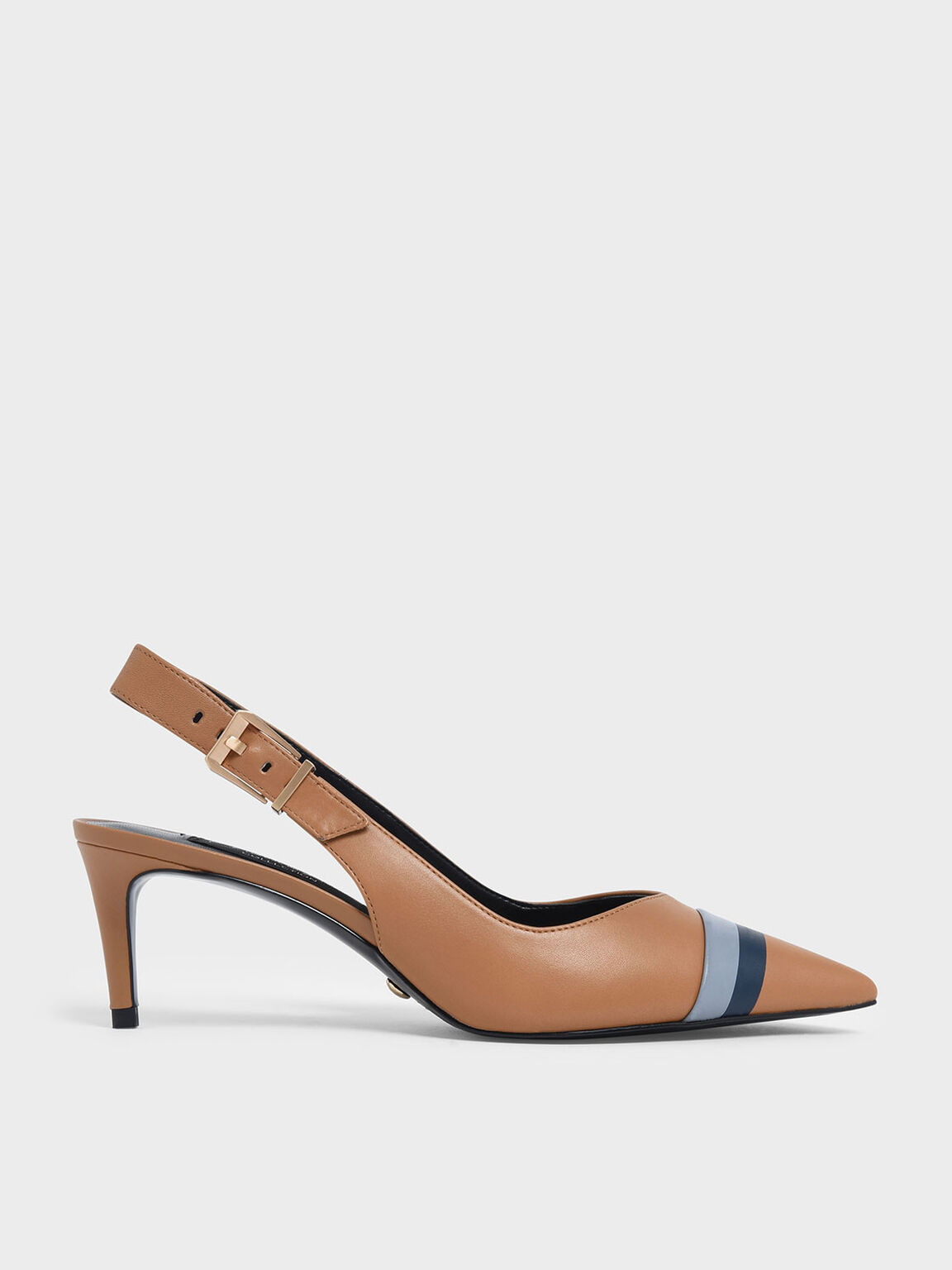 Striped Leather Slingback Heels, Caramel, hi-res
