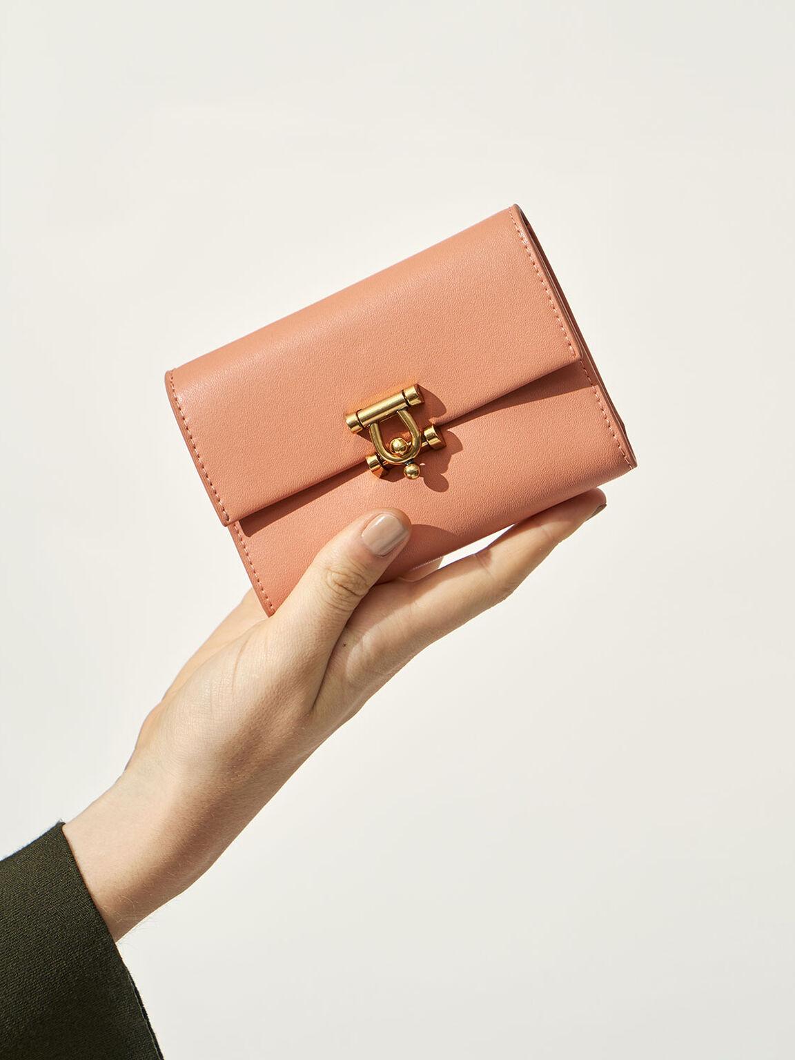 金屬扣皮夾, 蜜桃色, hi-res