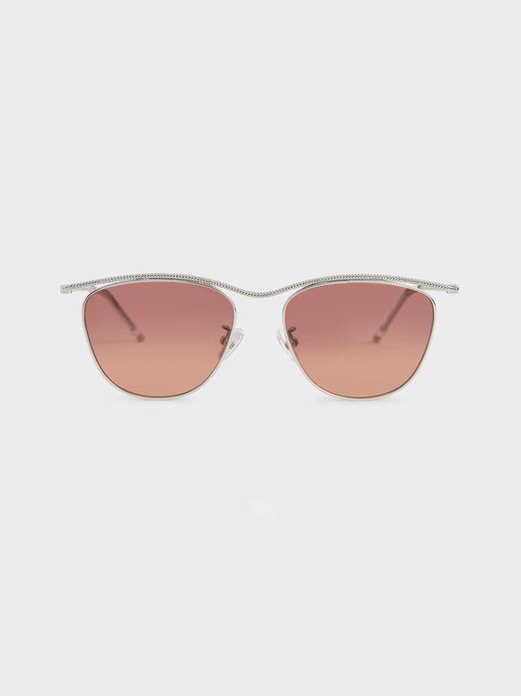 Wireframe Tinted Sunglasses, Mauve, hi-res