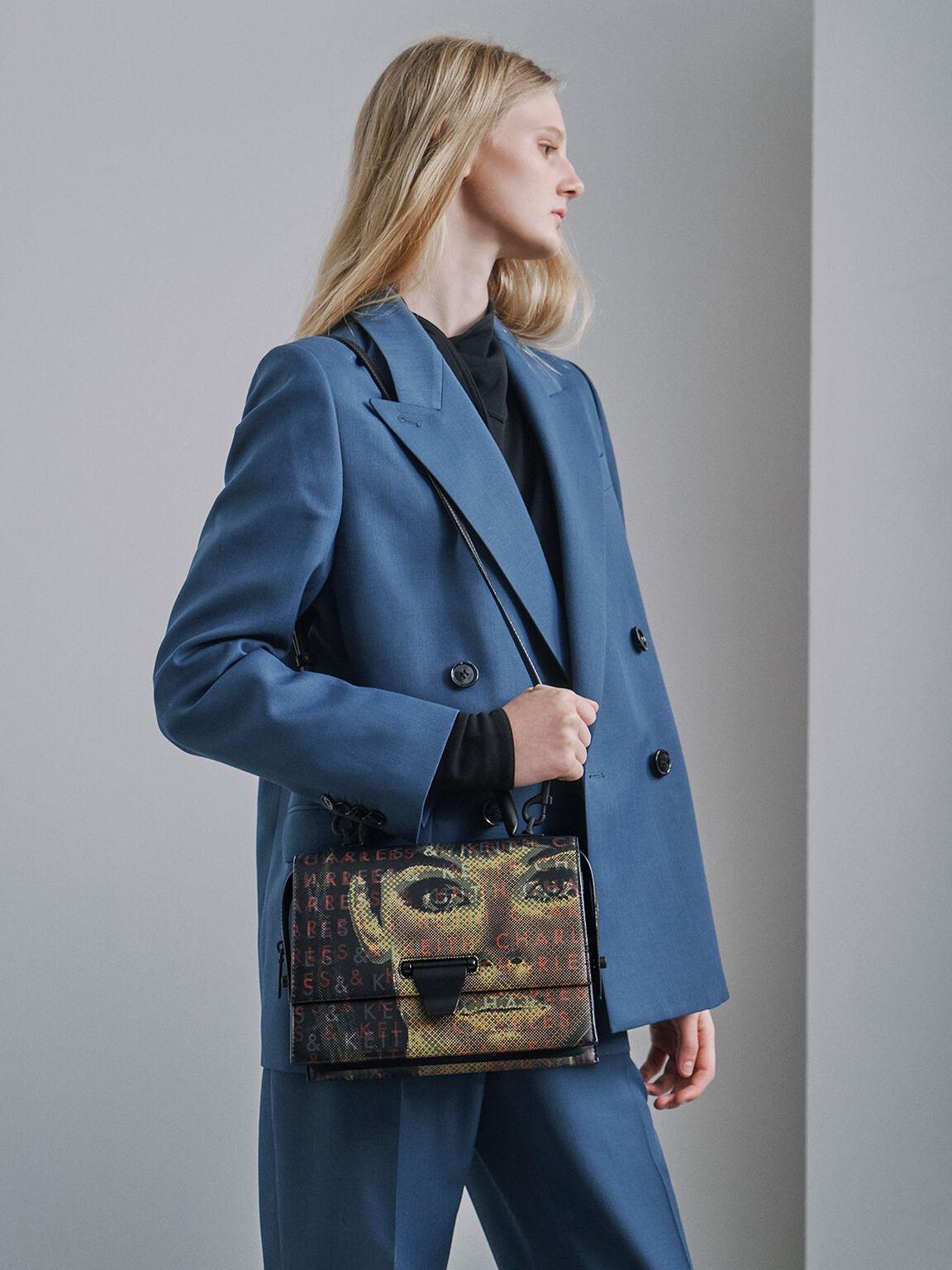Graphic Printed Top Handle Bag, Black, hi-res