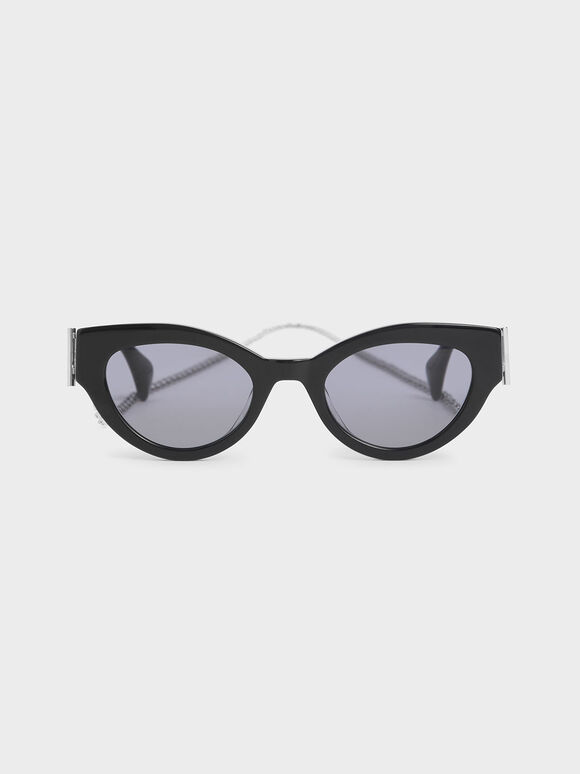 Chain Link Oval Sunglasses, Black, hi-res