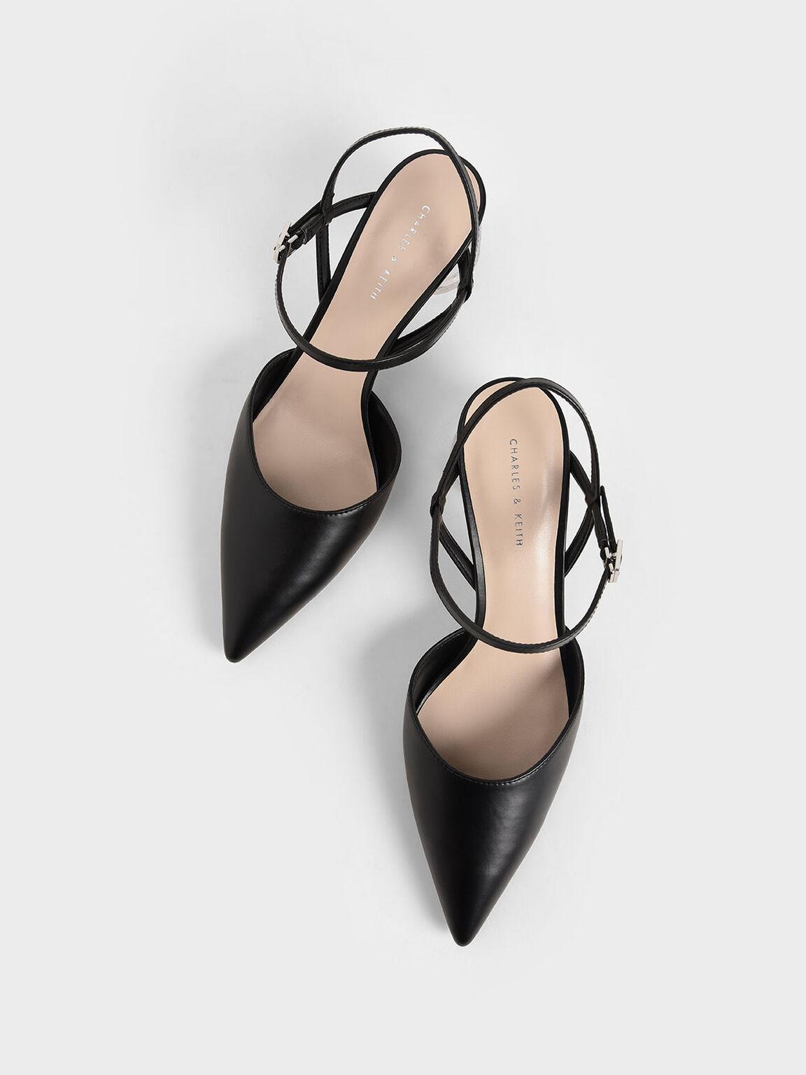 Sculptural Heel Ankle Strap Pumps, Black, hi-res
