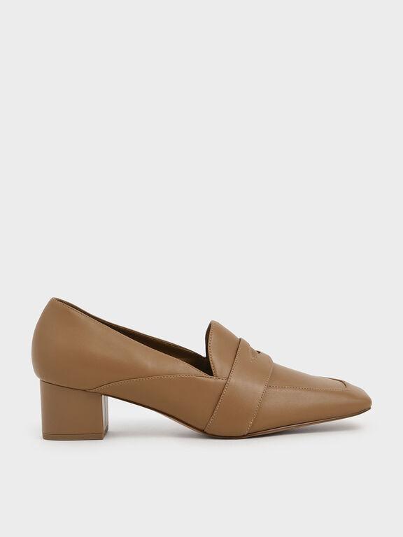 Square Toe Block Heel Loafers, Beige, hi-res