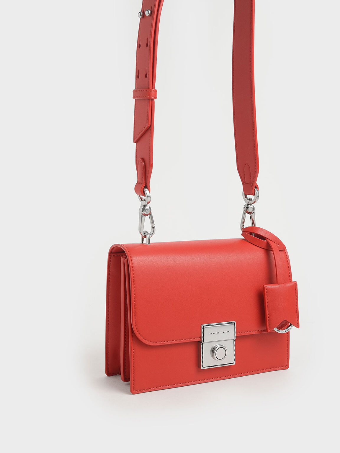 Boxy Push Lock Crossbody Bag, Red, hi-res