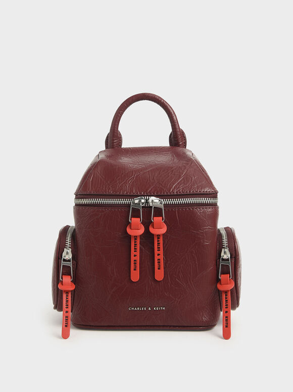 Wrinkled Effect Two-Way Zip Backpack, Burgundy, hi-res