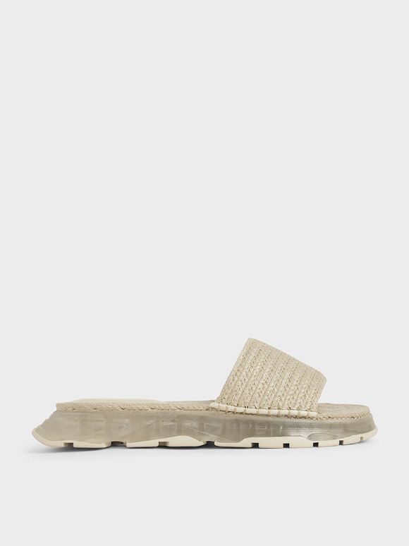 Espadrille Flatform Sandals, Cream, hi-res