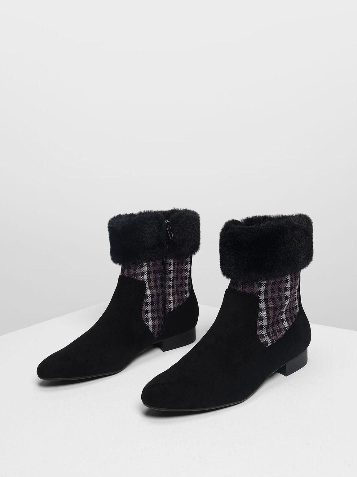Furry Cuff Printed Boots, Black, hi-res