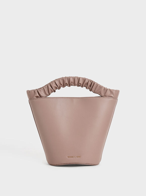 Pleated Handle Bucket Bag, Mauve, hi-res