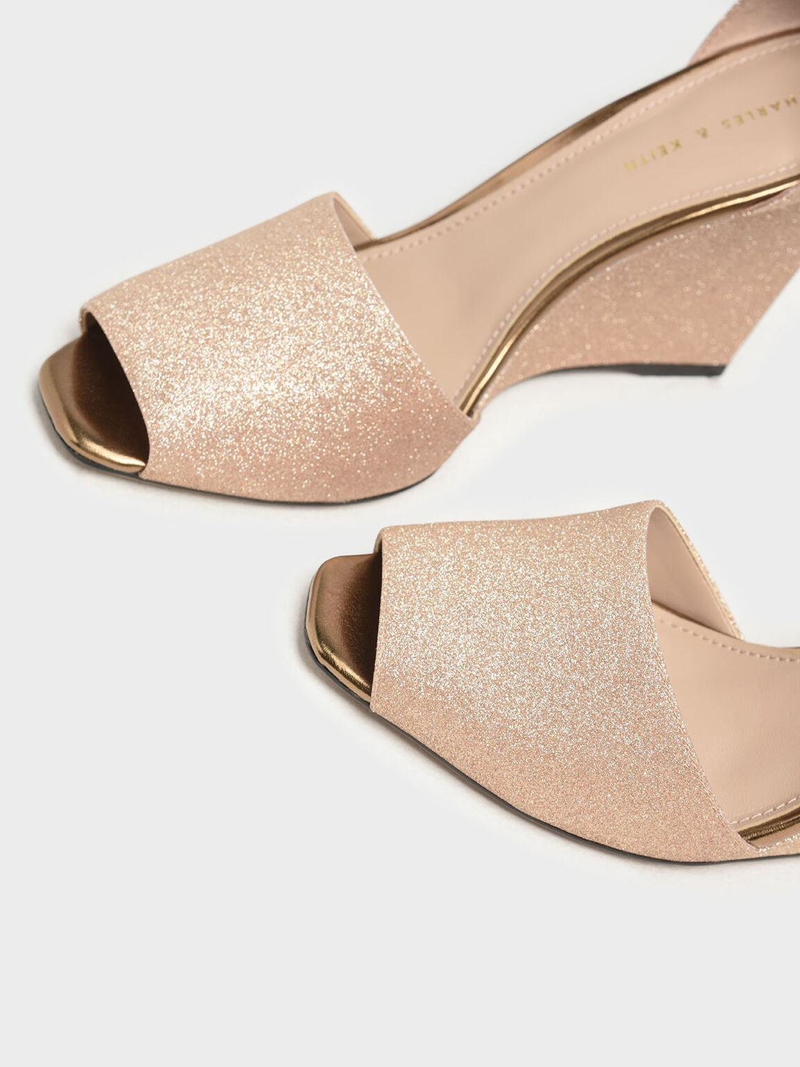 Glitter Peep Toe Wedges, Gold, hi-res