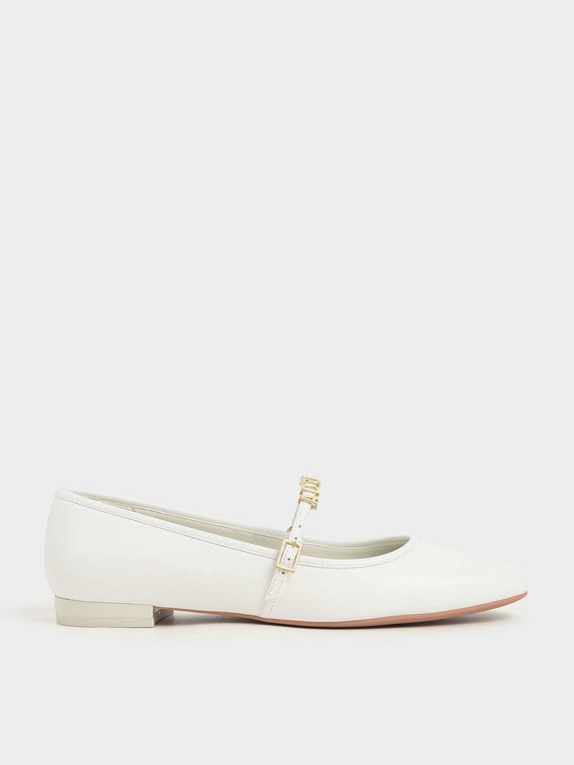 'Adore' Mary Jane Flats, White, hi-res
