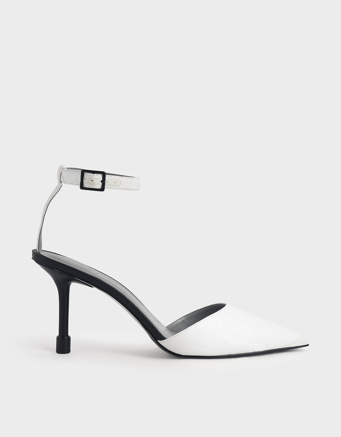 White Ankle Strap Pointed Toe Pumps