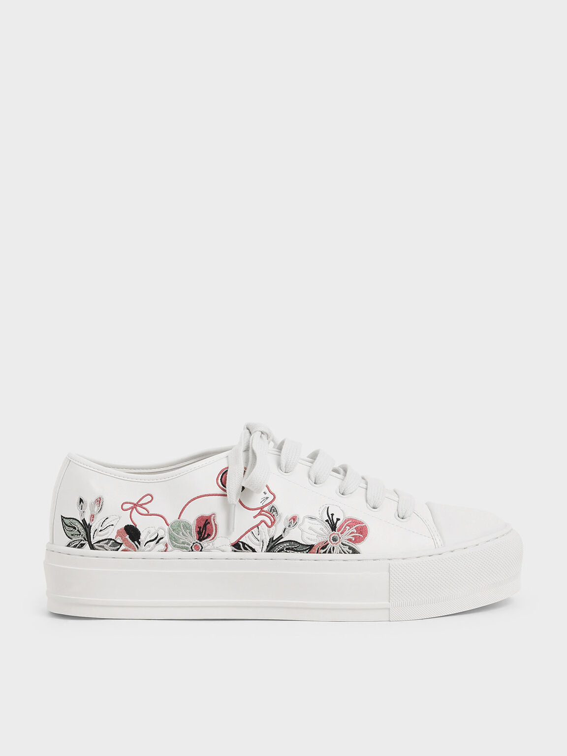 Embroidered Sneakers, White, hi-res