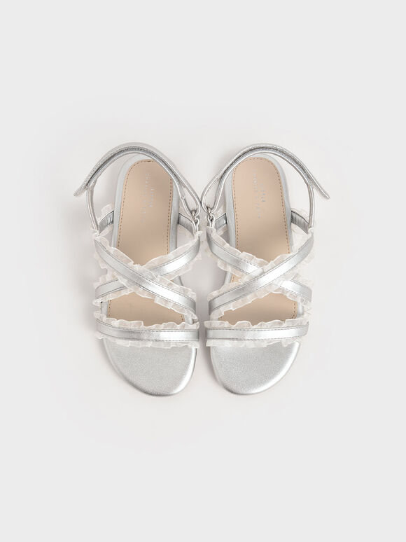 Girls' Metallic Frill-Trim Flat Sandals, Silver, hi-res