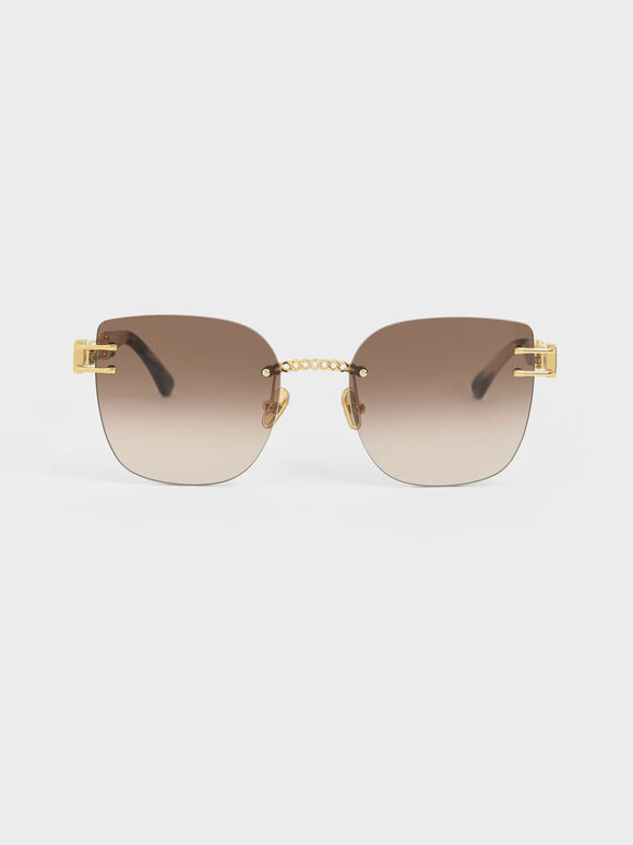 Rimless Butterfly Sunglasses, Gold, hi-res