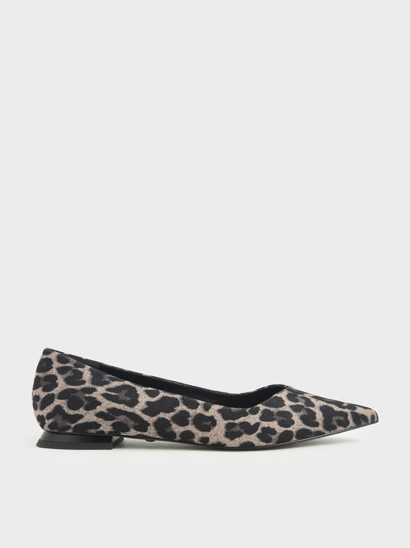Leopard Print Ballerina Flats, Multi, hi-res