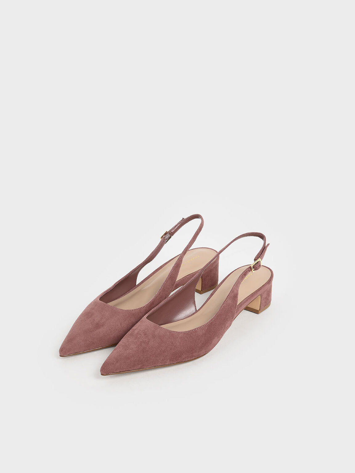 Textured Pointed Toe Slingback Heels, Mauve, hi-res