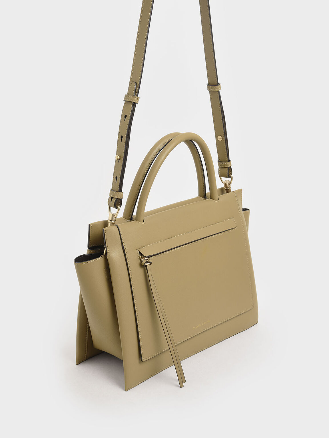 Large Trapeze Handbag, Sand, hi-res