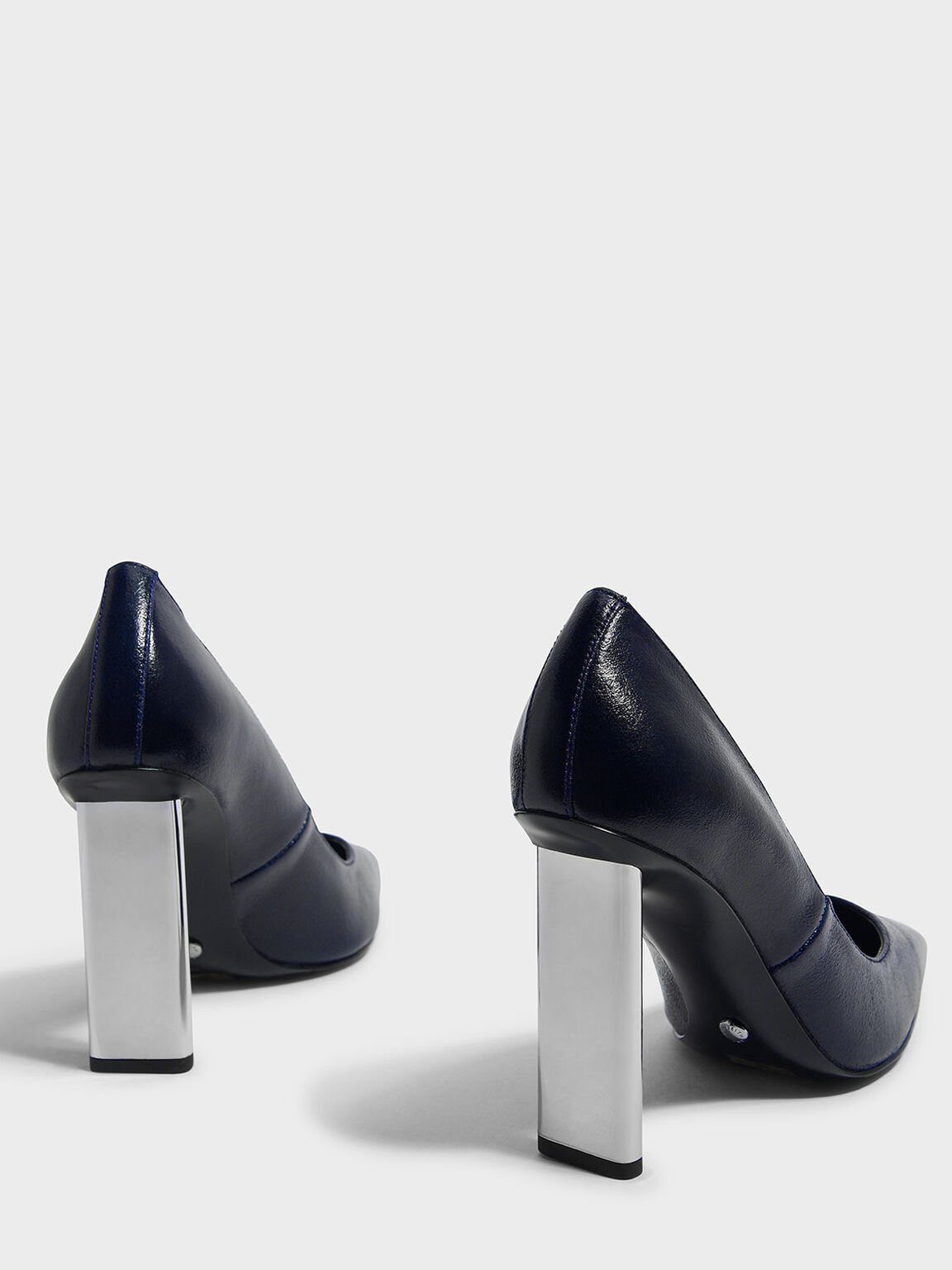 Blade Heel Leather Pumps, Dark Blue, hi-res