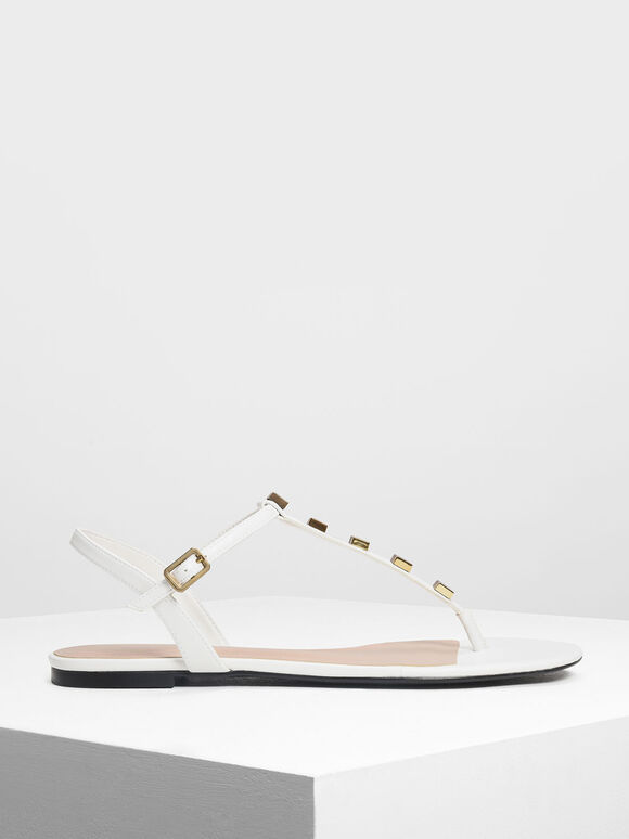Embellished T-Bar Sandals, White, hi-res