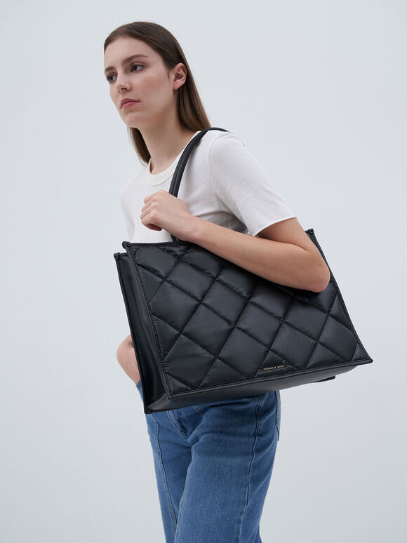 Double Handle Quilted Tote Bag, Black, hi-res