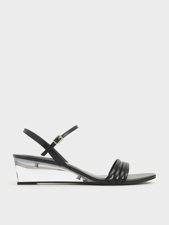 Ankle Strap Clear Wedges, Black, hi-res