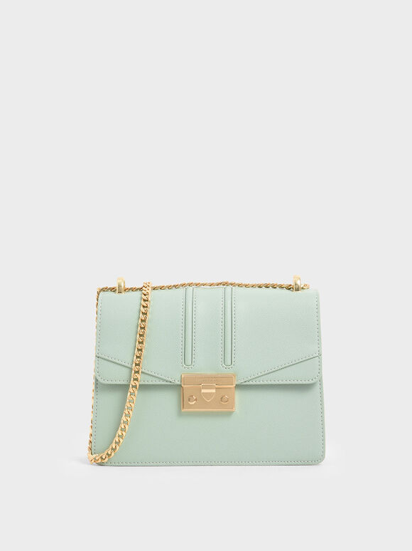 Chain Strap Shoulder Bag, Mint Green, hi-res