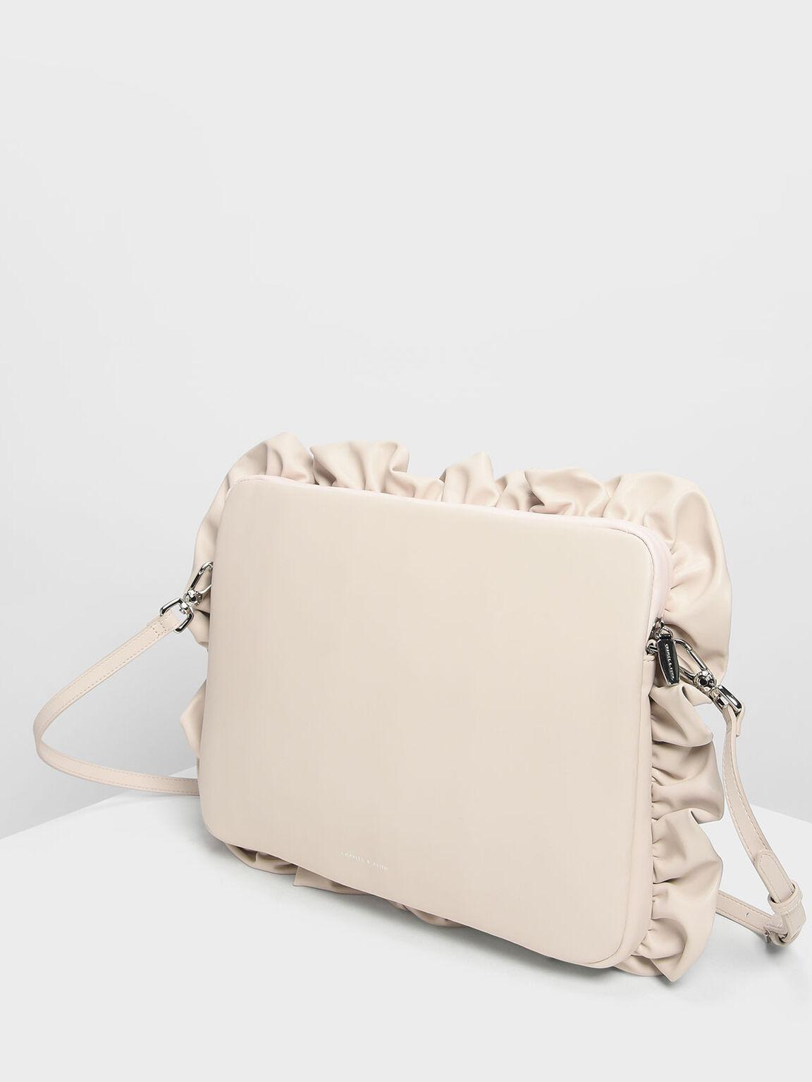 Ruffle Detail Laptop Bag, White, hi-res