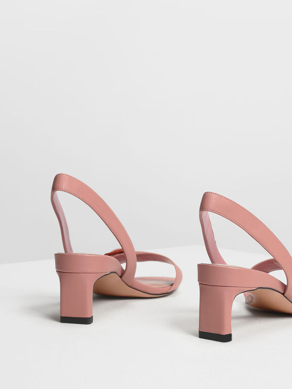 Wide Buckle Slingback Heels, Blush