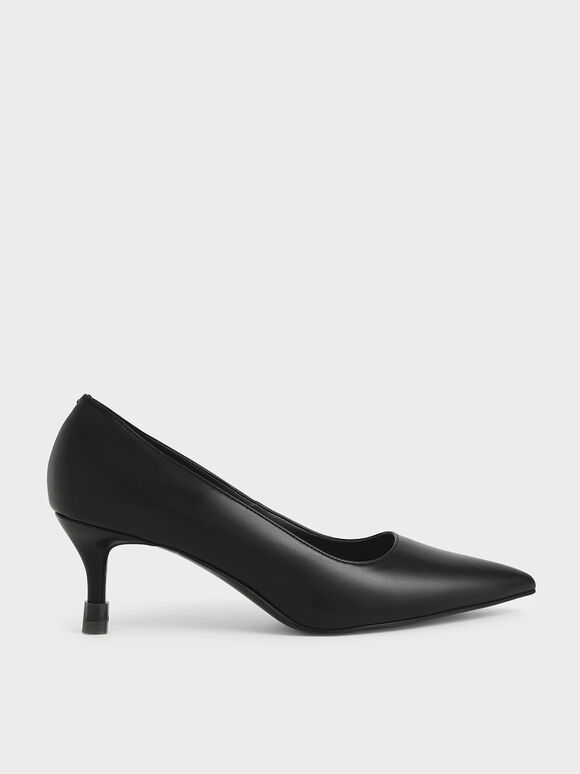 Mid Heel Pointed Toe Pumps, Black, hi-res