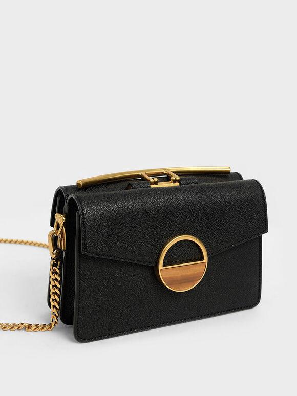 Stone Embellished-Buckle Shoulder Bag, Black, hi-res