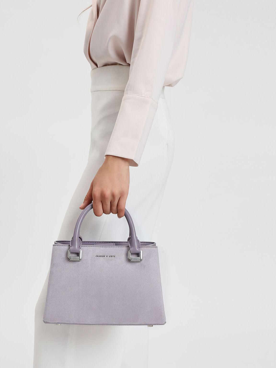 Classic Top Handle Handbag, Lilac Grey, hi-res