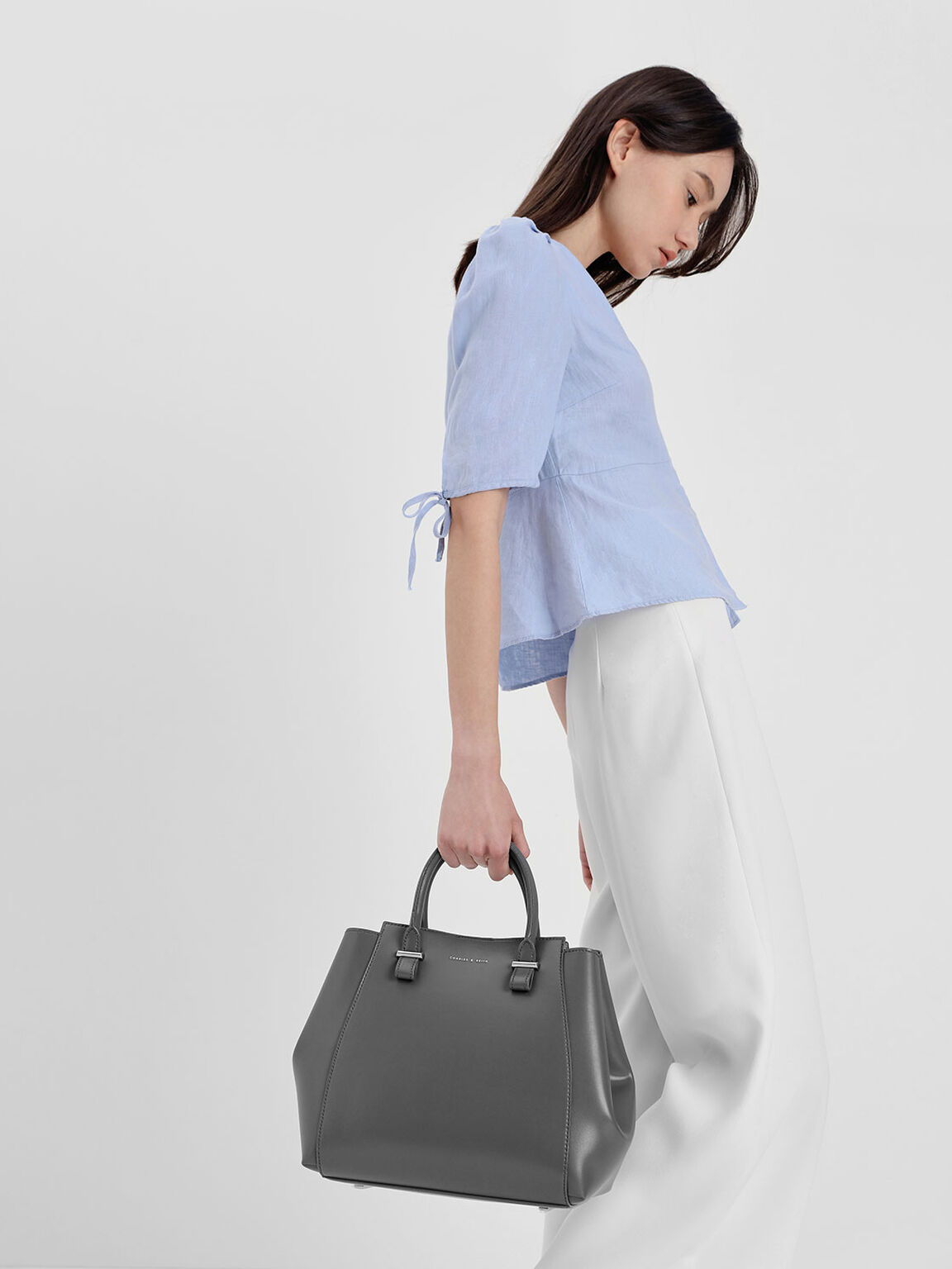 Double Handle Structured Tote, Grey, hi-res
