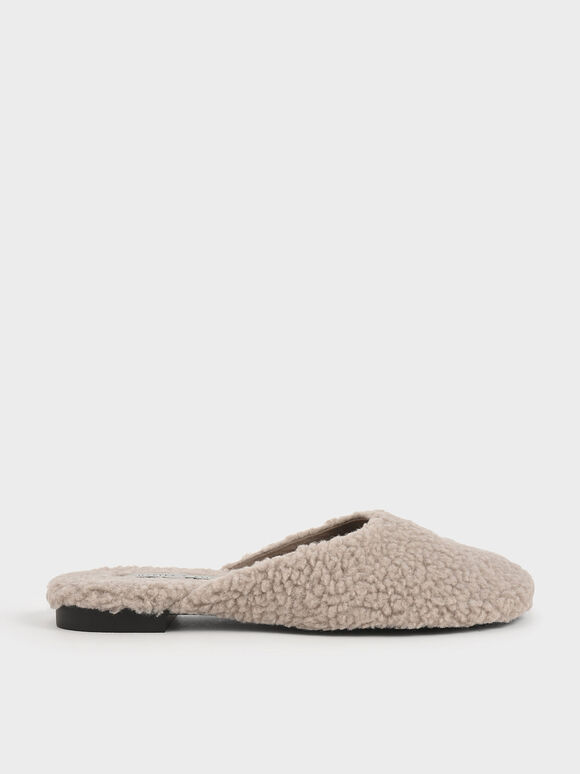 Purpose Collection - Furry Mule Flats, Taupe, hi-res