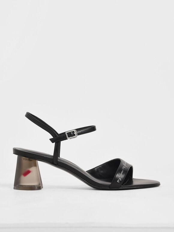 Embroidered Lucite Sculptural Heel Sandals, Black, hi-res