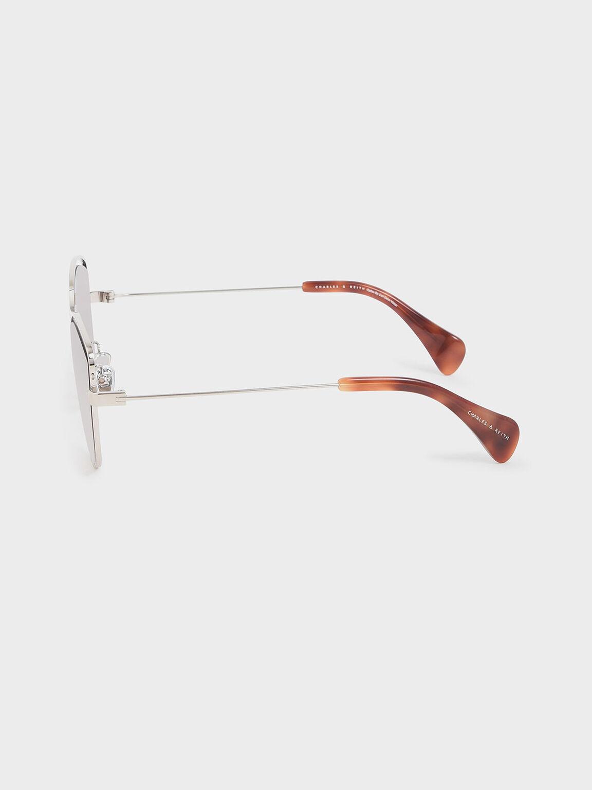 金屬蝴蝶框墨鏡, 咖啡色, hi-res