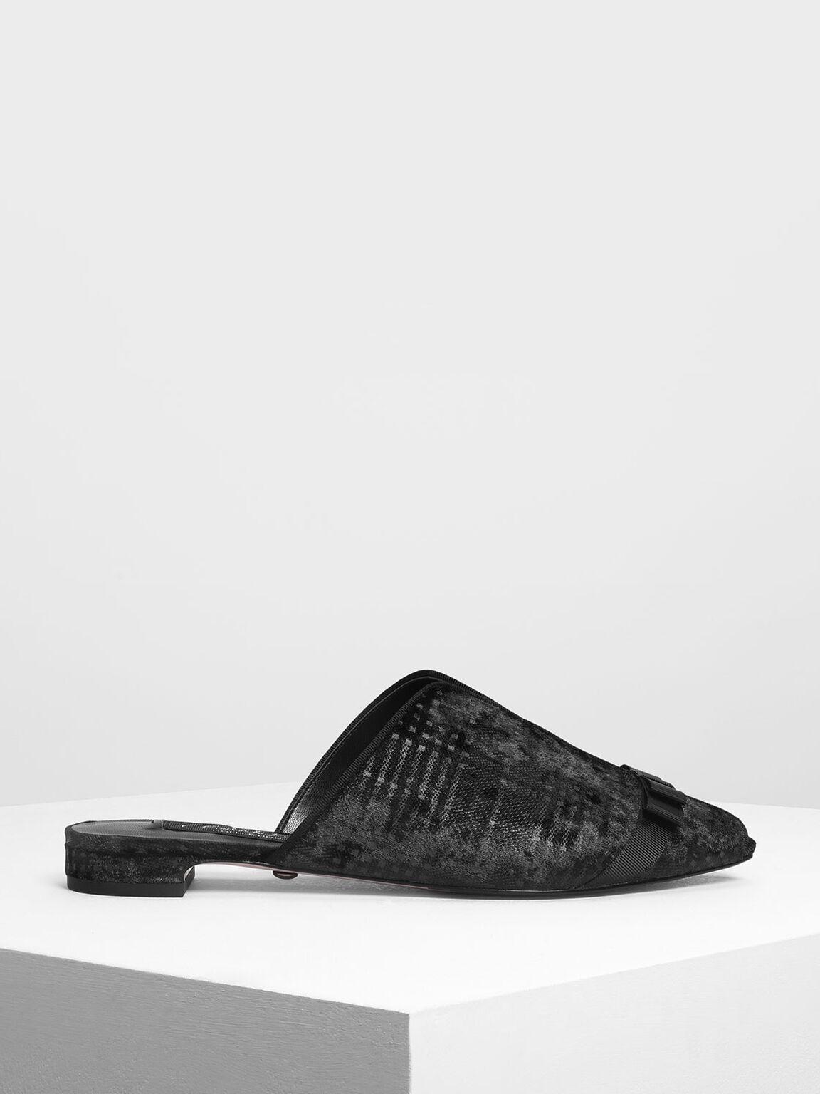 Bow Detail Peep Toe Velvet Mules, Black, hi-res