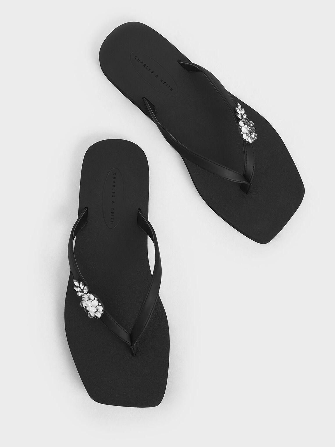 Embellished Thong Sandals, Black, hi-res