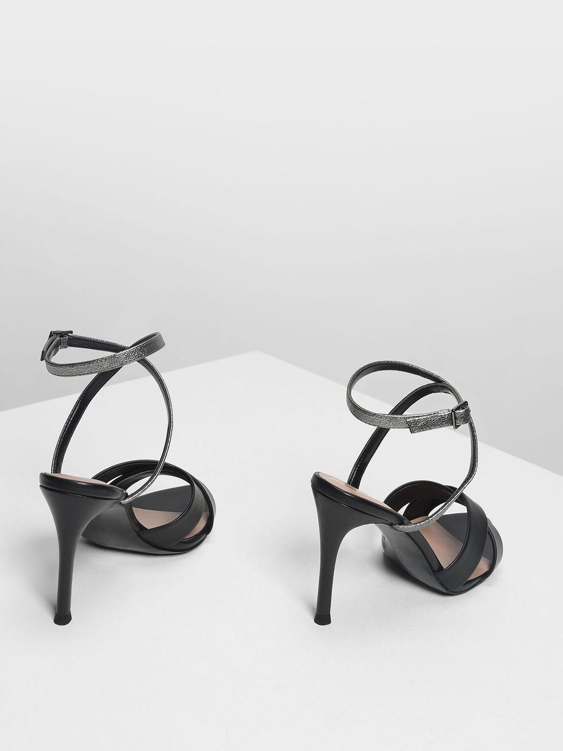 交叉帶高跟涼鞋, 黑色, hi-res