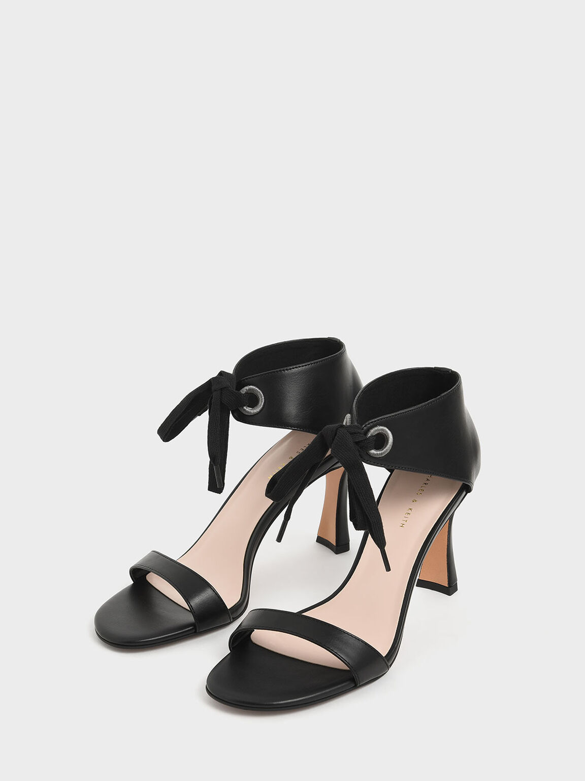 Bow Ankle Strap Sculptural Heel Sandals, Black, hi-res