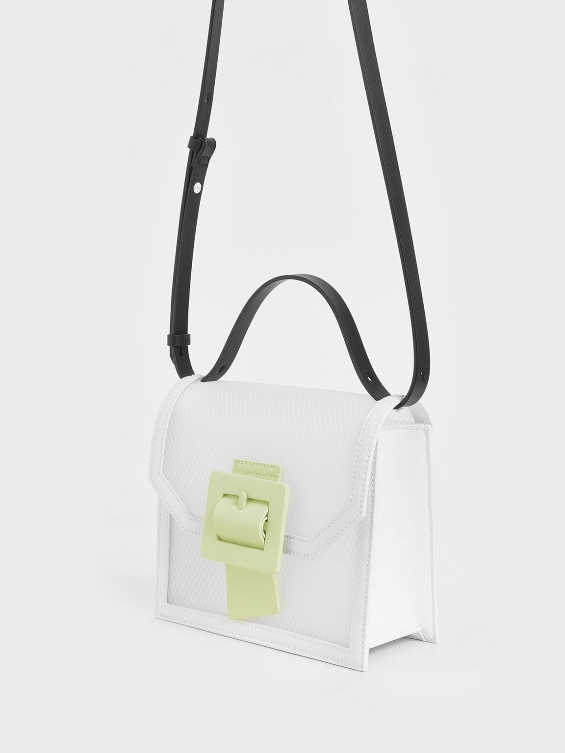 See-Through Effect Buckled Bag, White, hi-res