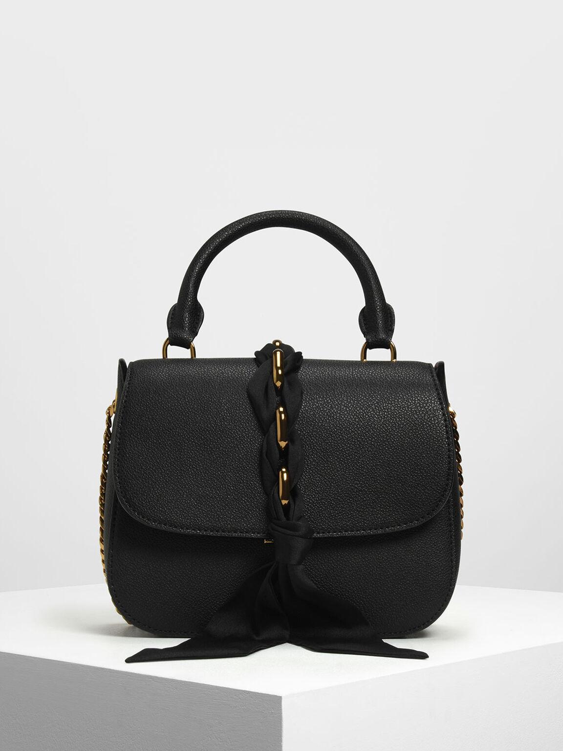 Braided Front Flap Bag, Black, hi-res