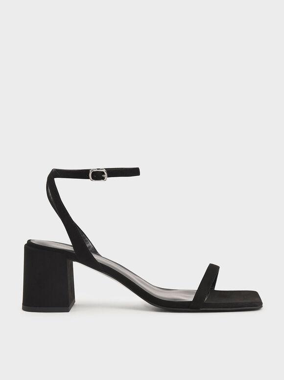 Textured Asymmetrical Ankle Strap Sandals, Black, hi-res