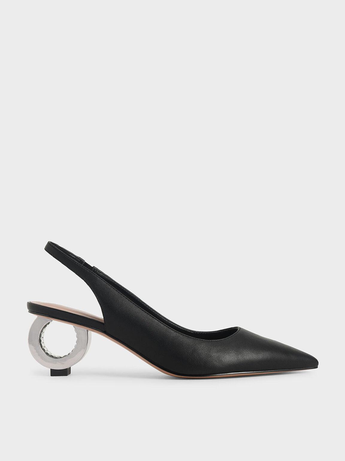 Sculptural Chrome Heel Slingback Pumps, Black, hi-res