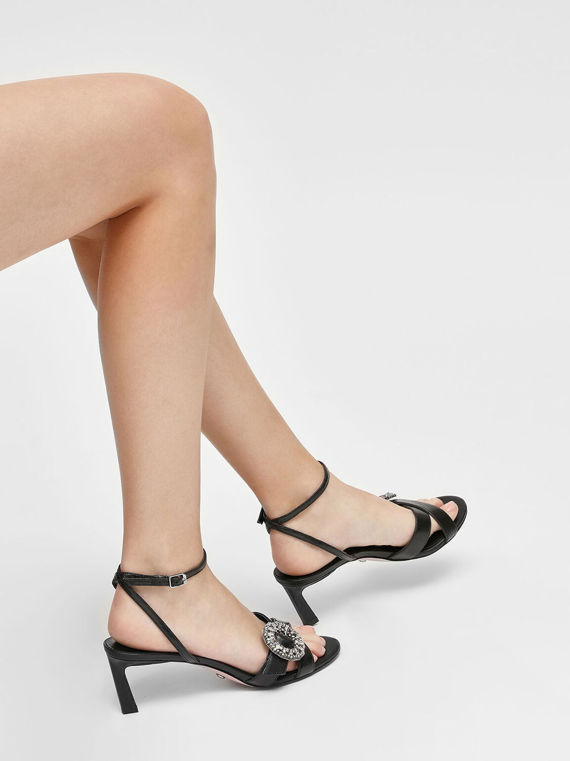 Crushed Gem Effect Buckle Leather Sandals, Black, hi-res