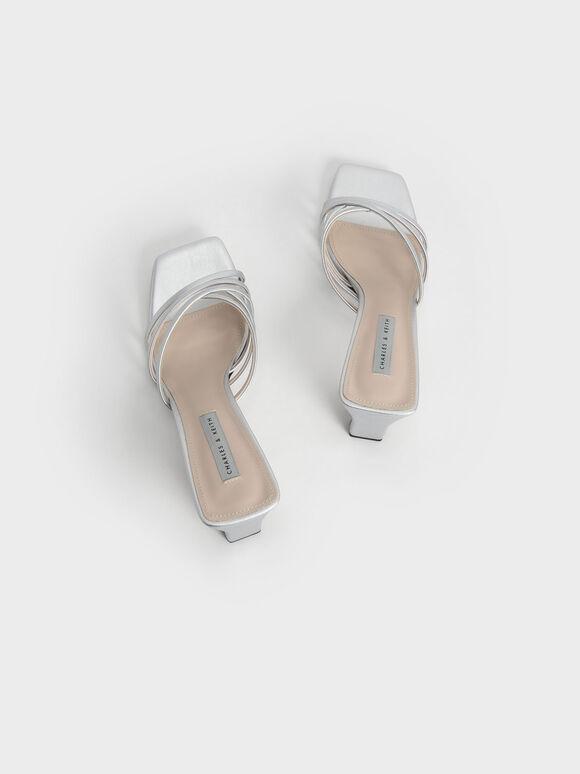 Metallic Strappy Square Toe Mules, Silver, hi-res