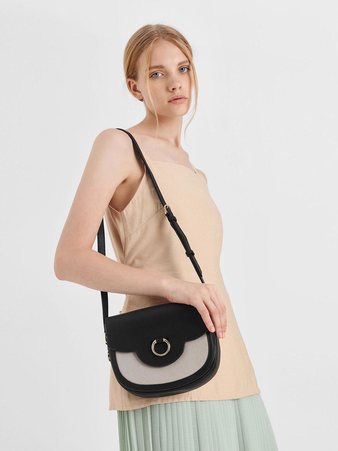 Ring Buckle Saddle Crossbody Bag, Black, hi-res