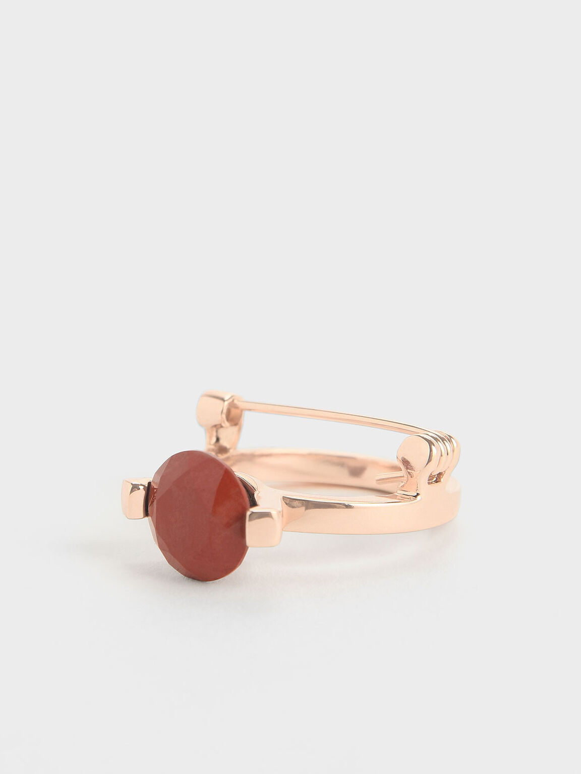 紅碧玉圓型胸針, 玫瑰金, hi-res