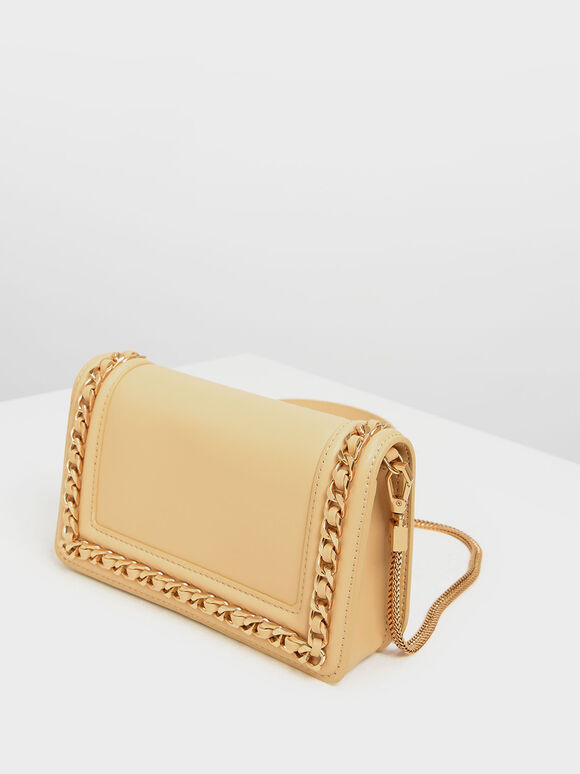 Chain Rimmed Clutch, Yellow, hi-res